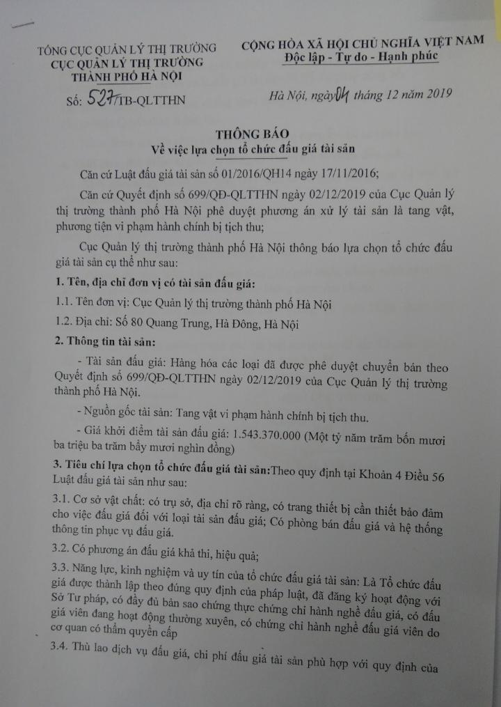 Cục QLTT thành phố Hà Nội thông báo việc lựa chọn tổ chức đấu giá tài sản